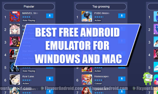 Free Android Emulator for Windows 7/8/10 and Mac