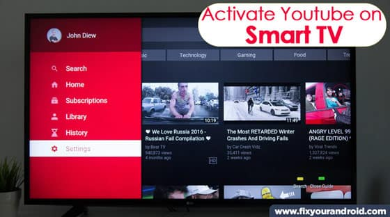 Steps to active Youtube on Android Smart TV