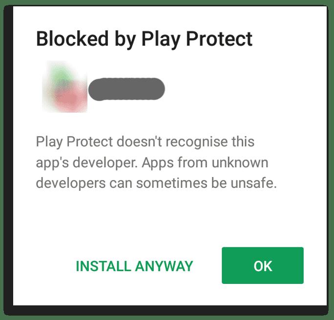 google protect blocking suspecious app