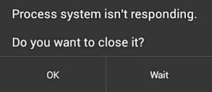 Process system isn't responding