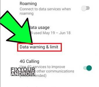 Data warning & limit