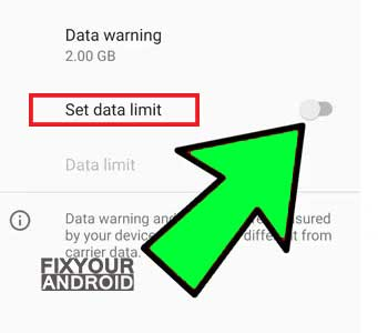 """Toggle the """"Set data limit"""" off"""