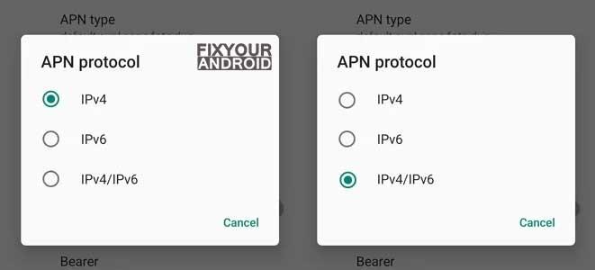 set APN protocol to iPv4-IPv6