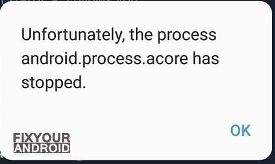 Unfortunately, android.process.acore has stopped