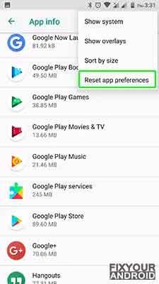 fix android.process.acore error reset app preferences